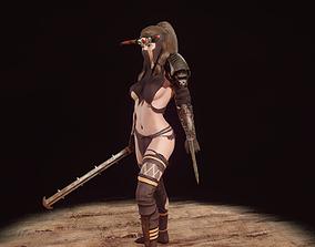 3D model animated Female character - Bounty hunter