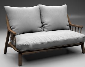 Banquette coton lin Richard design E Gallina 3D model