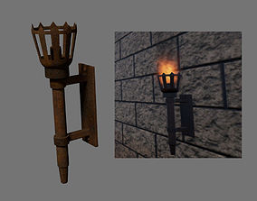 3D asset Medieval torch Game of Thrones Style