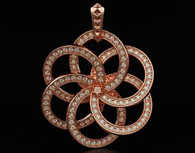 Pendant flower with diamonds 567 3D printable model