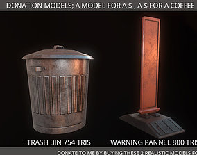 3D asset Low Poly PBR Donation Models Trash Can Warning 1