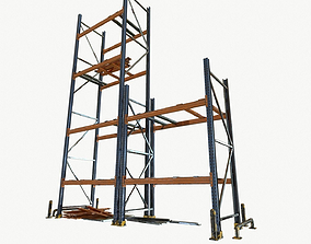 modular warehouse metal shelf 3D asset