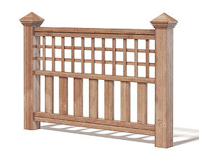 Wooden Fence 3D Model wooden