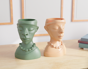 3D printable model African Woman Head Bust Planter