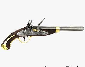 3D asset low-poly Flintlock Pistol Low Poly