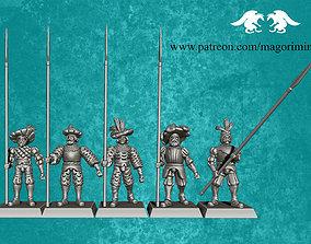Landsknecht army halberdiers pikemans 3D print model