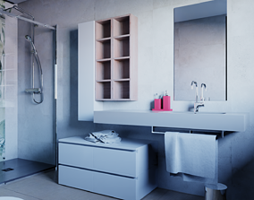 furniture 3D Washbasin cabinet Legnobagno Freedom F90