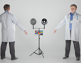 3D asset VR / AR ready Man in lab coat in A-pose 332