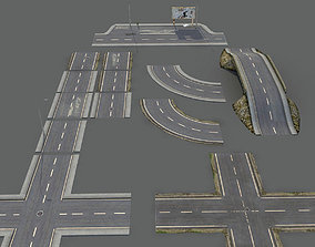 3D asset Damaged Road Pack Low Poly