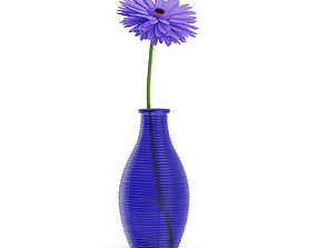 3D Small Purple Flower in Blue Vase