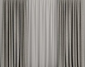 fabric Brown curtains with tulle 3D model