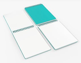 Sketchbooks with spiral on top open close 3D