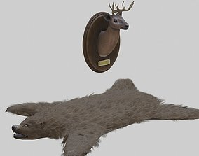 3D model Taxidermied Deer Head Mount And Bear Rug With PBR