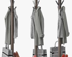 3D model Solid Wood Freestanding Coat Stand