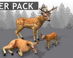 3D model Deer Family