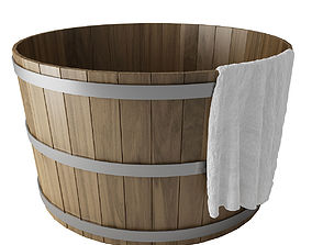 3D model Wooden Hot Tub with towel Wooden Hot Tub with