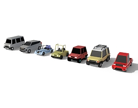 Low Poly Car Pack 3D asset game-ready
