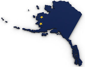 3D Alaska Political Map