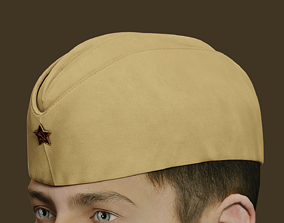 Military Soviet Soldier side cap of Infantry 3D asset