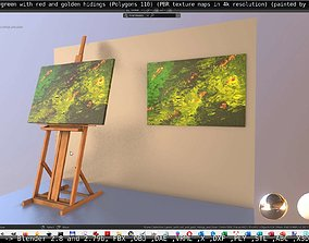 3D asset Green With Red And Golden Hidings - Oil Painting