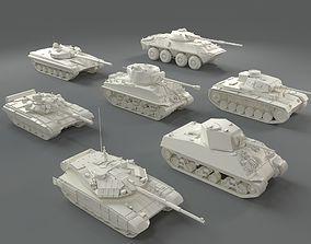 Tanks -7 pieces - part-1 3D asset