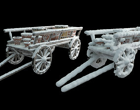 3D Wooden cart covered with snow 02