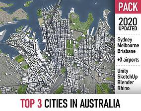 Top 3 Cities in Australia 3D model