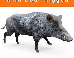 animated Black Wild Boar Rigged and Animated 3D Models