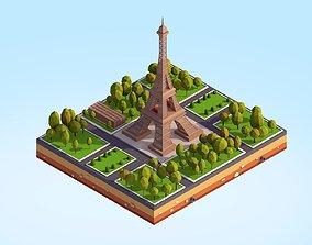 Cartoon Low Poly Eiffel Tower Scene 3D asset