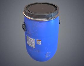 3D asset low-poly Plastic barrel