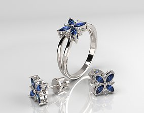 Ring and earrings print model model