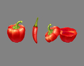 3D model Cartoon Vegetable - Red chilli and slice