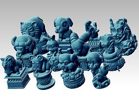 Twelve cute animals 3D print model