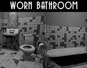 3D asset realtime Worn Bathroom