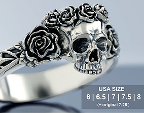 3D printable model Skull and Roses Ring