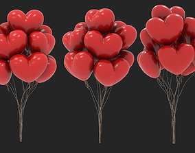 red heart shaped balloons for valentines day 3D