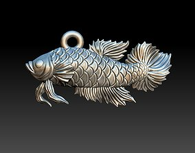 Siamese fighting fish pendant 3D printable model
