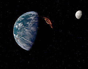 Realistic 3D animation of planet earth animated