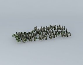 3D model Street Of Gold Medals Trees 01