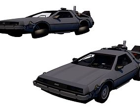 3D Back to the Future-Delorean low-poly