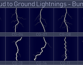3D model Realistic Lightnings Bundle 05 - 10 pack CG