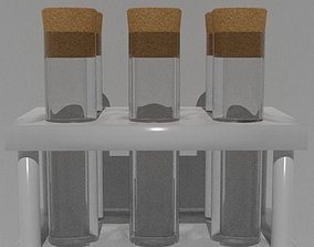 3D asset Low poly PBR test tubes in rack