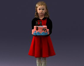 Girl with cake 0313 3D Print Ready