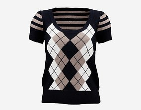 3D asset Squares Lines Open Neck Pull Top