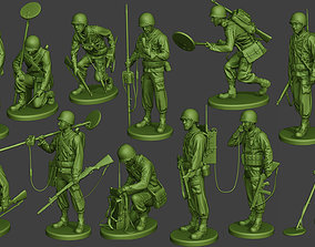 American engineer soldiers ww2 A9 Pack 3D model