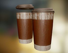 3D asset Coffee To Go Cup Junk 2 - Gameready - PBR 1