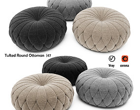 3D Tufted Round Ottoman