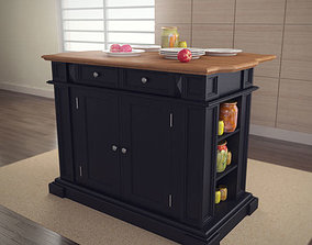 Kitchen Island in Black with Oak Top 3D asset