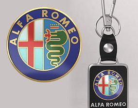 Alfaromeo car logo keychain 3d model