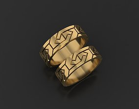 Wedding rings Female and man with pattern 3D print model